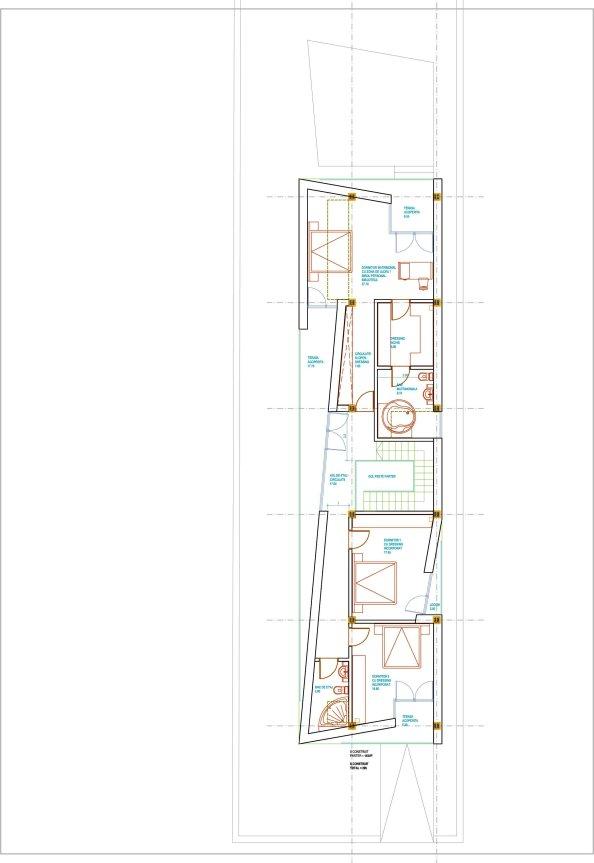 plan etaj casa pe teren ingust