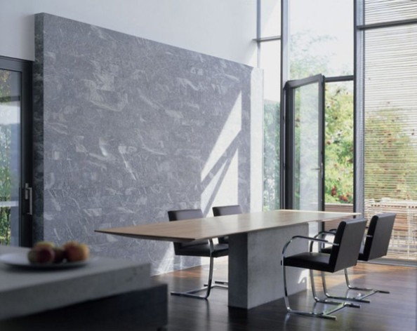 Interior-dining-room-dining-table-wooden-floor-marble-wall-fruit-on-the-plat-chair-door-open-venetian-blind-large-window-trees