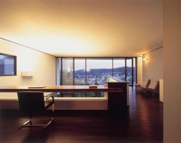 interior-workspace-office-chair-table-wide-window-venetian-blind-wall-light-wooden-floor-books