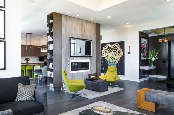 apartament modern amenajat , culori vibrante, verde in amenajari interioare, proiect amenajare interioara moderna