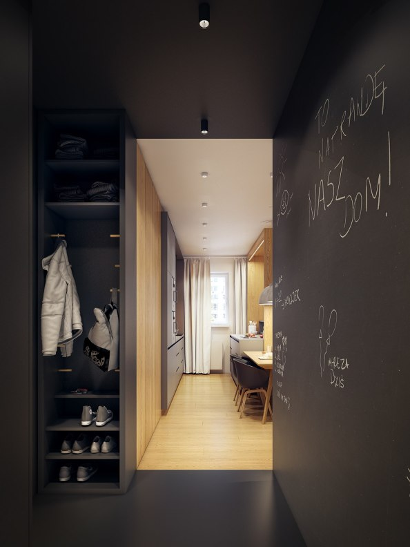 all-black-apartment-entryway