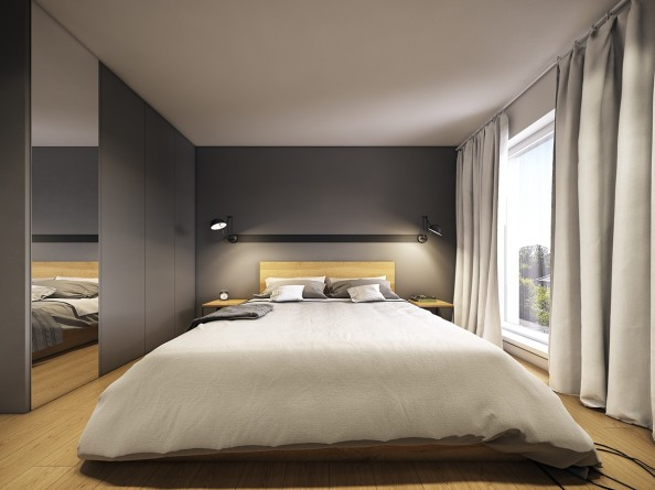 minimalistic-gray-and-wood-bedroom