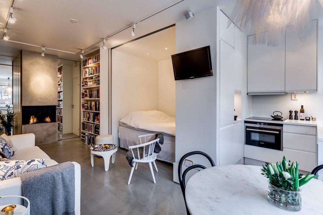 Patul în dulap într-o garsonieră de 34 m² 4