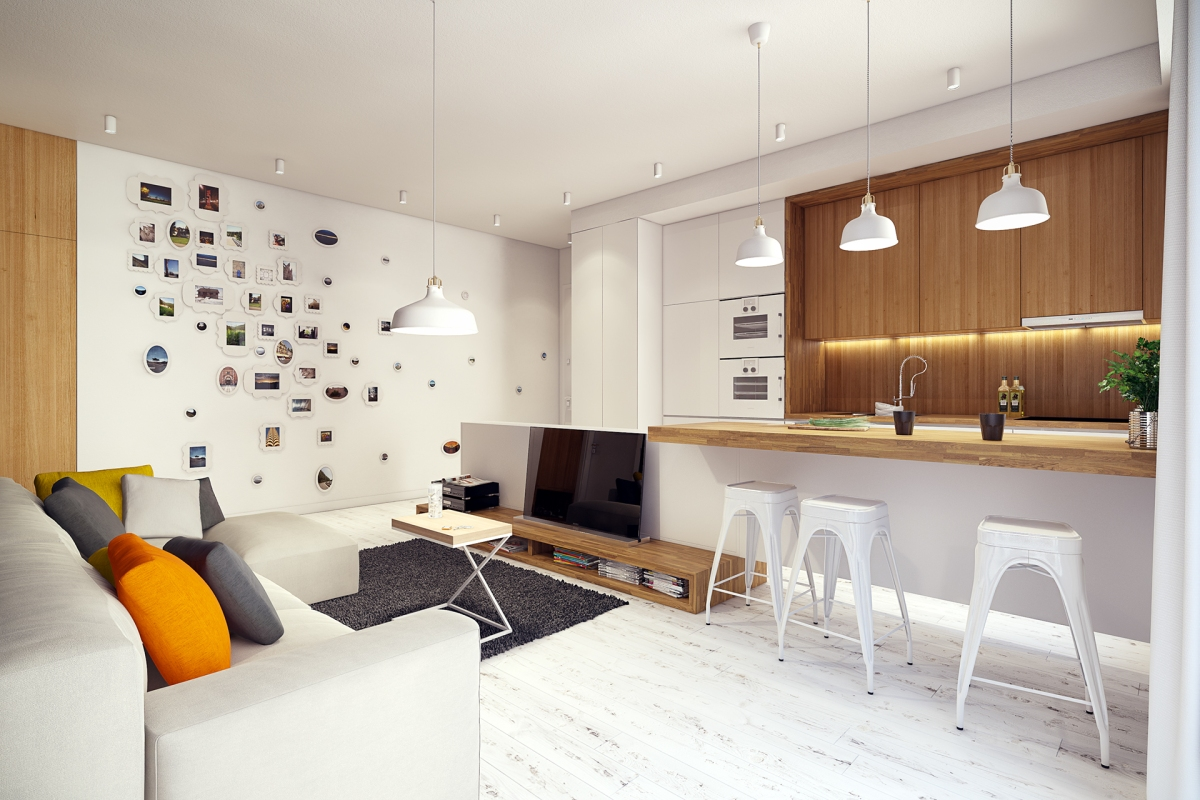 Alb dominant in amenajarea unui apartament luminos