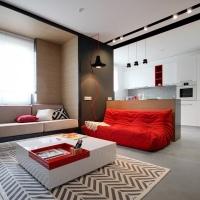 Accente de rosu intr-un apartament modern de 55mp