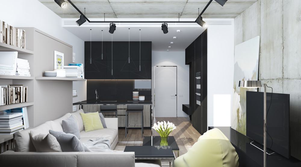 grayscale-studio-apartment-decor