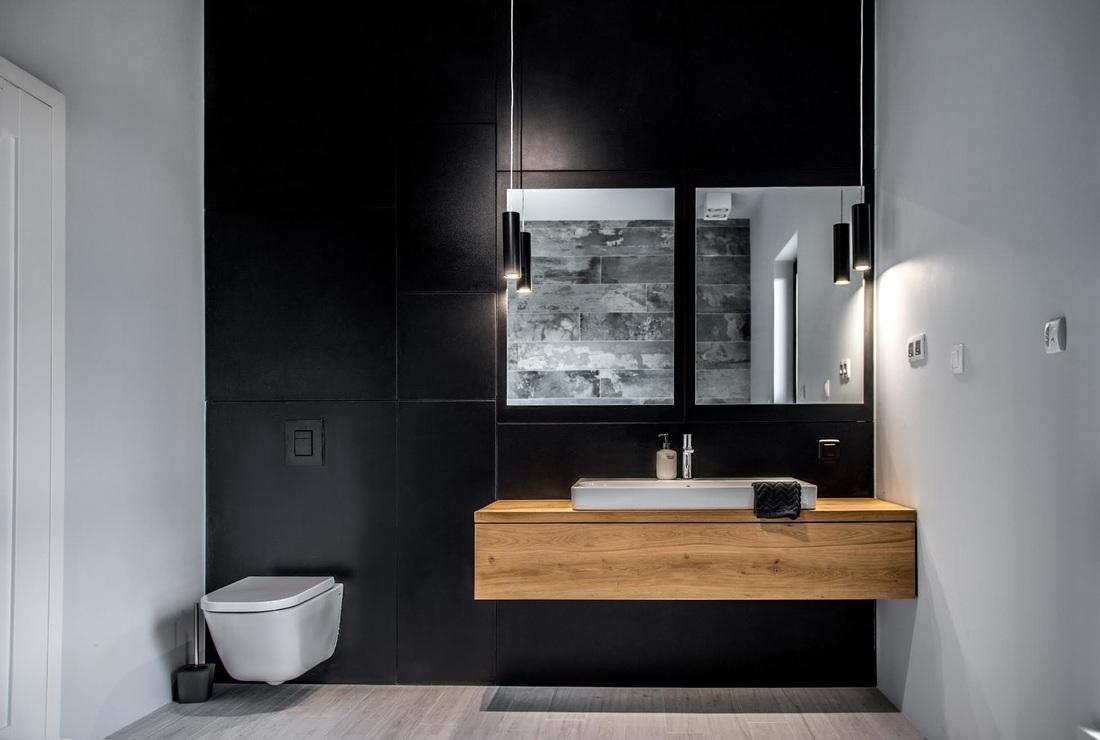 Modern, gri, minimal și cărămidă expusă într-o casă din Polonia 16