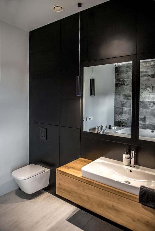 Modern, gri, minimal și cărămidă expusă într-o casă din Polonia 18