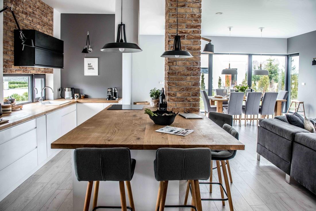Modern, gri, minimal și cărămidă expusă într-o casă din Polonia 2_ arhipura