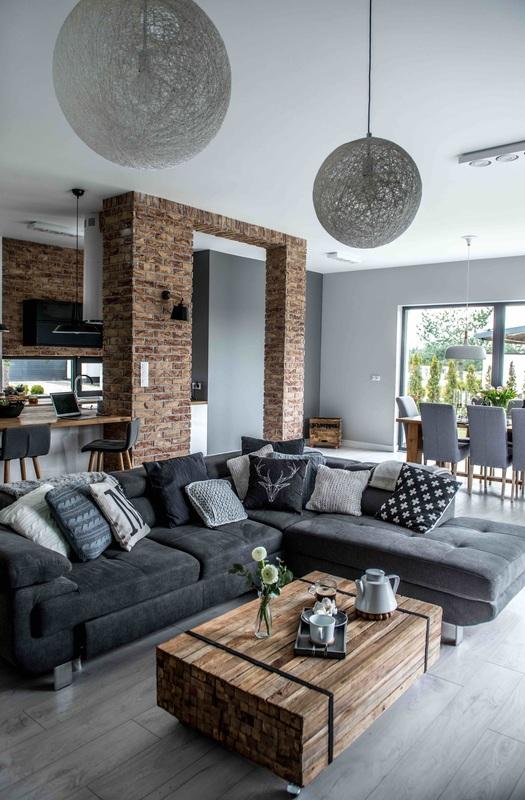 Modern, gri, minimal și cărămidă expusă într-o casă din Polonia 4_ arhipura