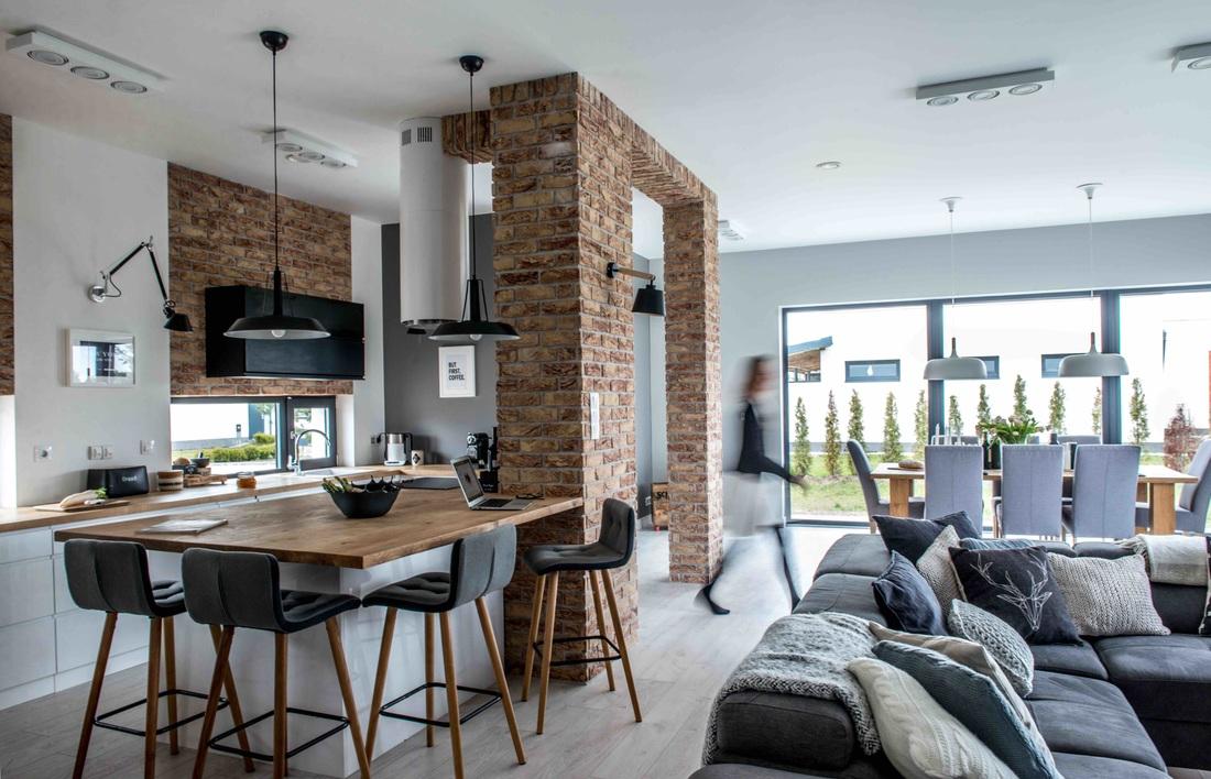 Modern, gri, minimal și cărămidă expusă într-o casă din Polonia 7_ arhipura