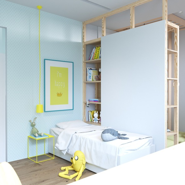 2childrens-room-yellow-art-white-bedding