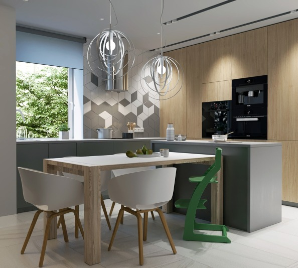 2modern-kitchen-wood-table-green-highchair-black-appliances