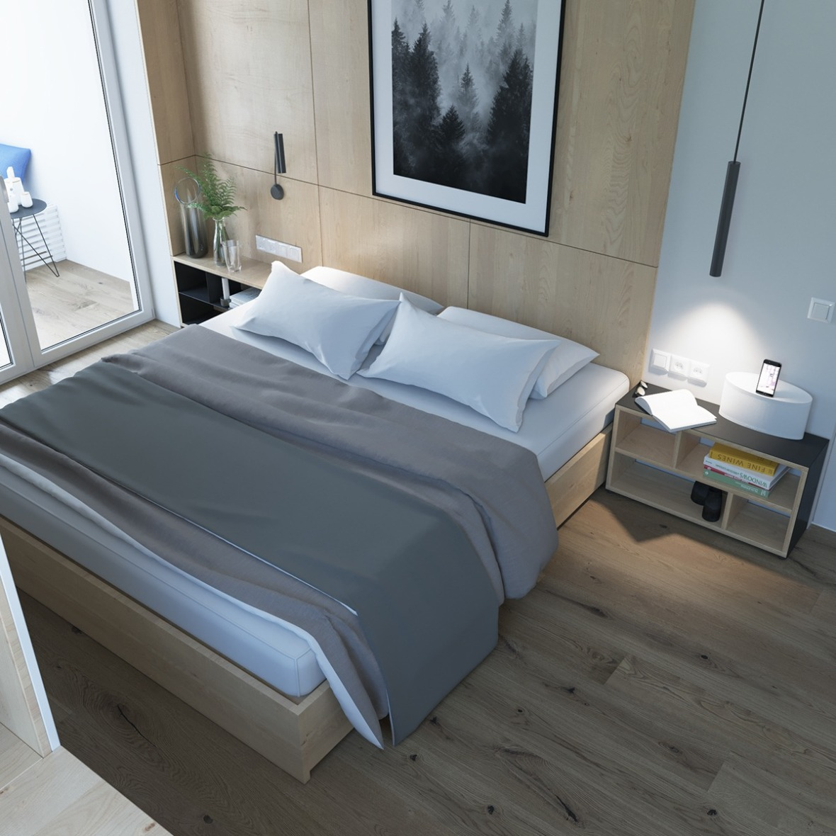 2simple-bedroom-white-sheets-gray-bedding