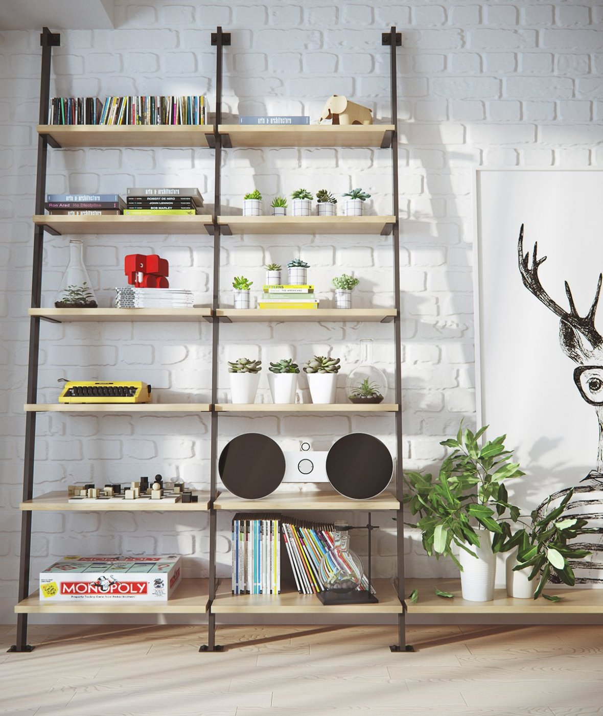 industrial-bookshelves-greenery-stereo