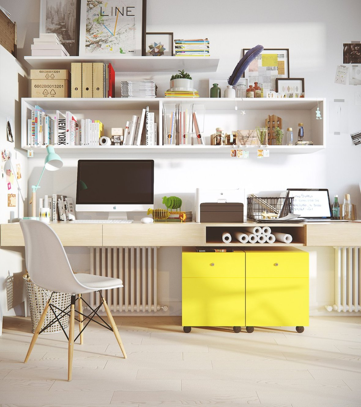 modern-office-white-chair-yellow-file-cabinets
