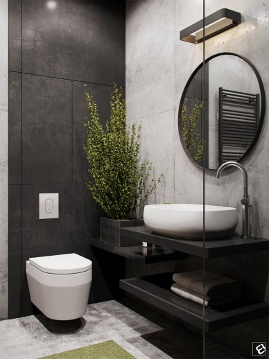 black-and-concrete-bath